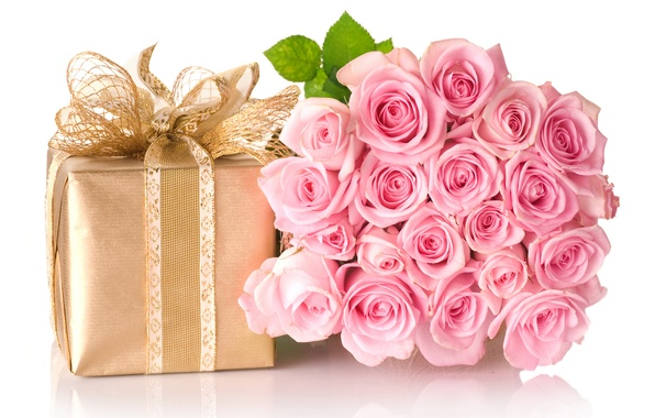Picture flowers, box, gift, bouquet, bow, roses. pink