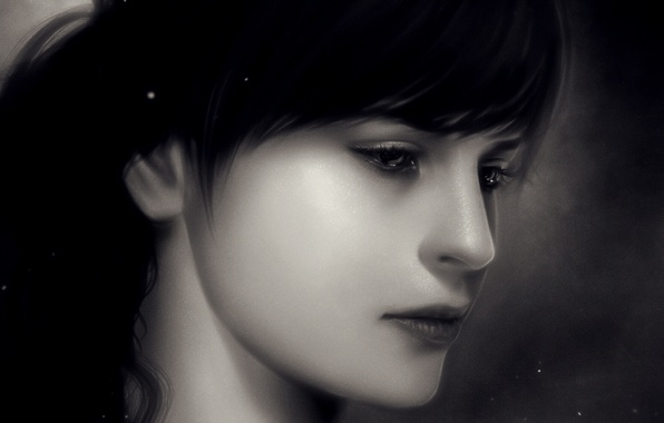 Picture close-up, portrait, Girl, sparks, monochrome, monochrome