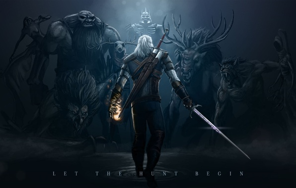Picture monsters, twilight, The Witcher, The Witcher 3 Wild Hunt, The Witcher 3 Wild Hunt