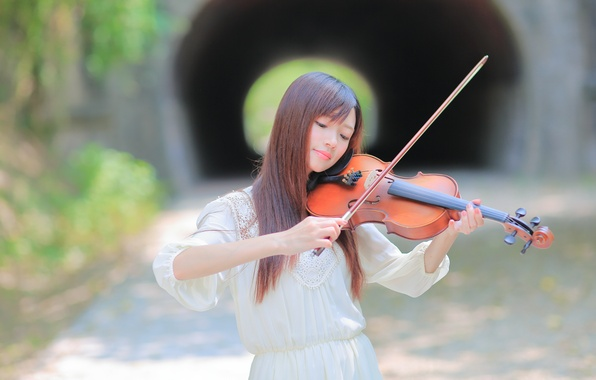 Picture girl, music, background, violin