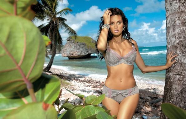 Picture beach, palm trees, model, linen, island, Beatrice Chirita, bracelet, beauty