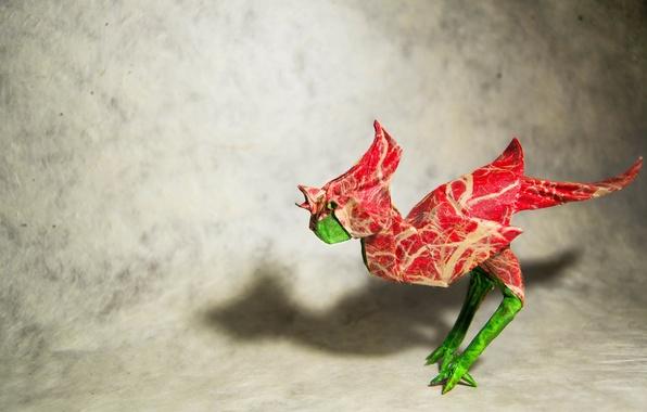 Picture bird, origami, cock