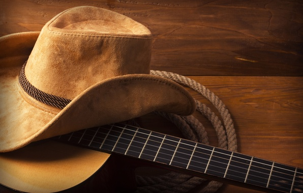 Picture guitar, hat, wood, cowboy, rope