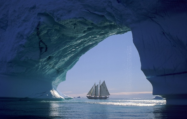 Picture ice, sea, ship, sailboat