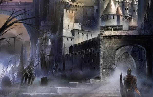 Picture dark, soldier, armor, castle