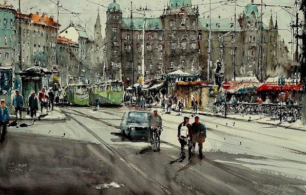 Picture street, home, picture, watercolor, the urban landscape, Maximilian DAmico