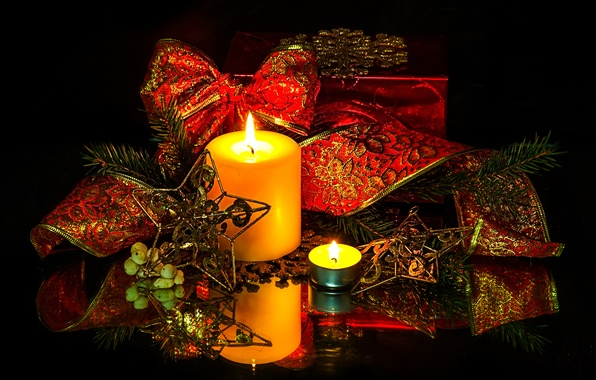 Picture tape, candles, twilight, bow, light, Christmas decorations
