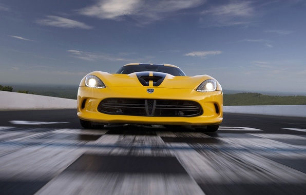 Picture Yellow, Dodge, Dodge, Lights, Viper, Supercar, SRT, The front