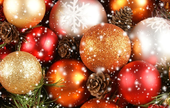 Picture snowflakes, balls, toys, New Year, Christmas, red, white, Christmas, bumps, gold, New Year, Christmas