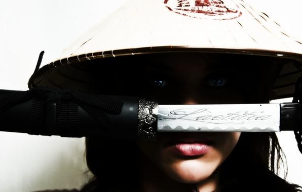 Picture look, girl, face, weapons, katana, art, headdress