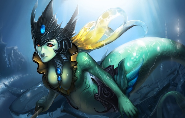 Picture sea, tail, nami, lol, League of Legends, Tidecaller