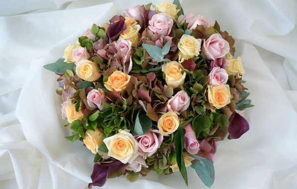 Picture flowers, roses, bouquet, yellow, pink, composition