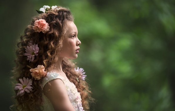 Picture flowers, background, mood, hair, girl, curls