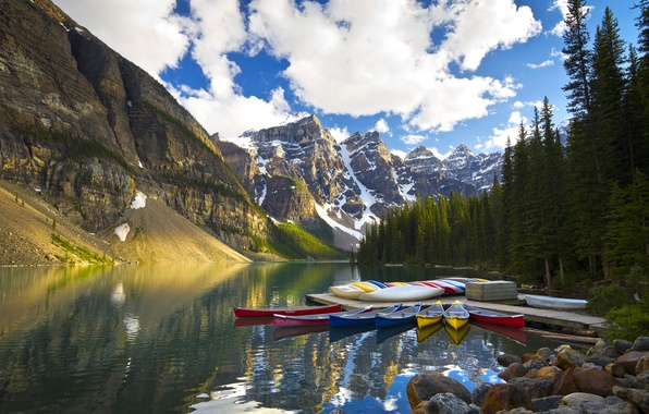 Picture trees, mountains, lake, reflection, Marina, boats, Canada, Albert, Banff National Park, Alberta, Canada, Canoeing, Moraine …