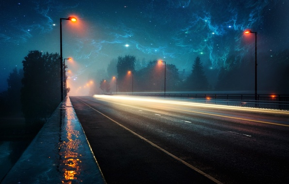 Picture road, space, light, landscape, lights, rain, the evening, space, rain, roads, evening, nebula, nebulae, lighter