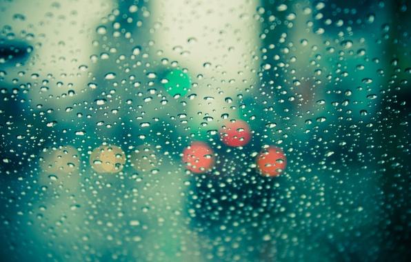 Picture glass, color, drops, macro, photo, rain, mood, Wallpaper, window, wallpapers, bokeh