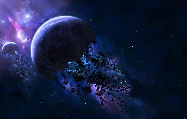 Picture space, fragments, planet, asteroids