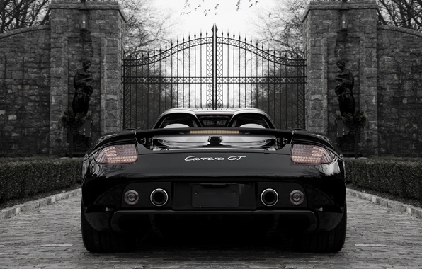 Picture black, Porsche, Porsche, black, the gates, back, carrera, Carrera, gate