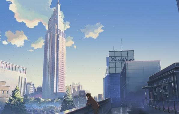 Picture the sky, the city, home, skyscrapers, Anime, guy, is, makoto sinkaj, gorod