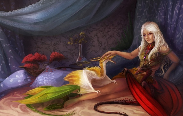 Picture girl, bed, dragons, pillow, fantasy, art, Game of Thrones, cubs
