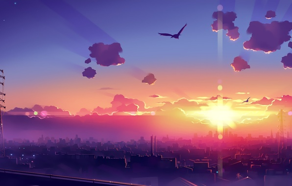Picture the sun, rays, birds, the city, dawn, graphics, home, morning, 1920x1200