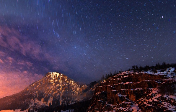 Picture the sky, clouds, trees, mountains, hills, Germany, Bayern, haze, The Milky Way, blue, evening