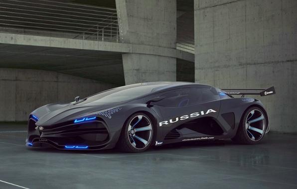 Picture Concept, The concept, Lights, Russia, Lada, Drives, Supercar, Lada, Supercar, Equal, Raver