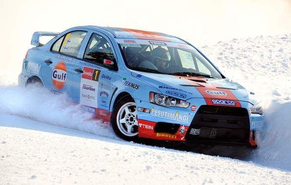 Picture winter, car, machine, snow, sport, Wallpaper, skid, sport, car, mitsubishi, cars, rally, Kar, lancer, winter, ...