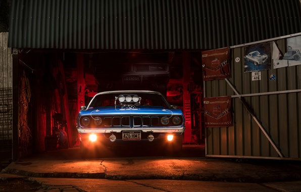 Picture light, garage, Chrysler, muscle car, Plymouth Barracuda