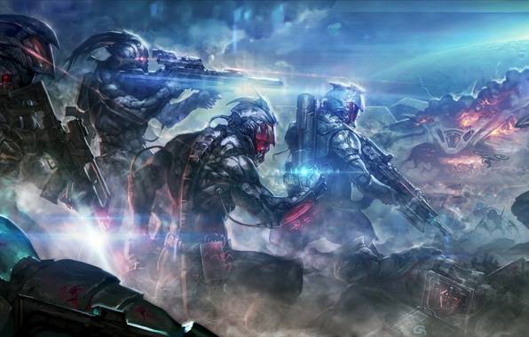 Picture rays, light, weapons, blood, smoke, monsters, Soldiers, armor, shots