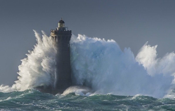 Picture sea, storm, wave, lighthouse, storm, sea, blue, wave, lighthouse
