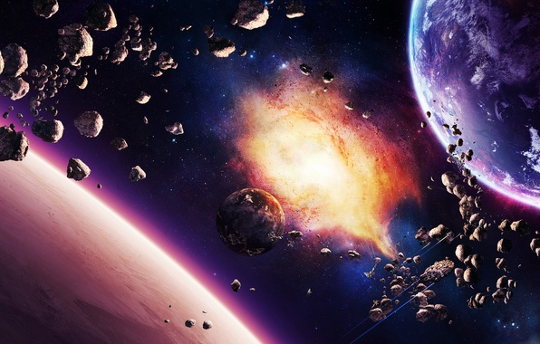 Picture stars, nebula, planet, ships, asteroids