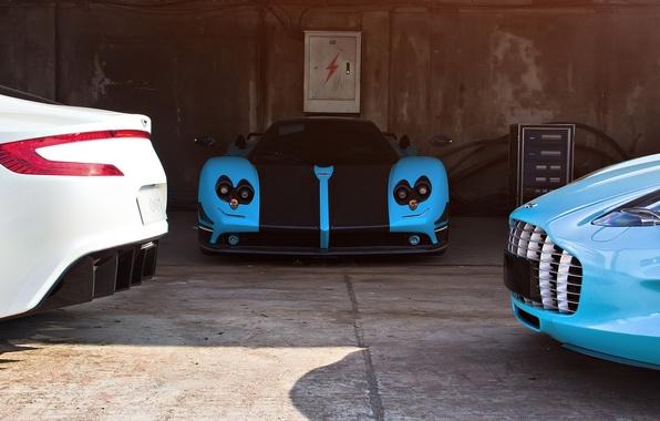 Picture supercars, Pagani Zonda, Aston Martin one-77