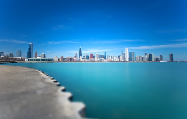 Picture the city, lake, blue, Chicago, Michigan