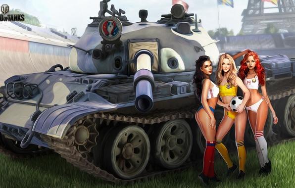 Picture field, grass, girls, football, sport, figure, the ball, art, tank, Eiffel tower, Russia, championship, Ukraine, …