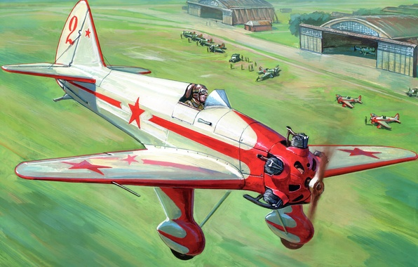 Picture field, people, figure, art, the plane, the airfield, aircraft, Soviet, training, hangars, UT-1, takeoff