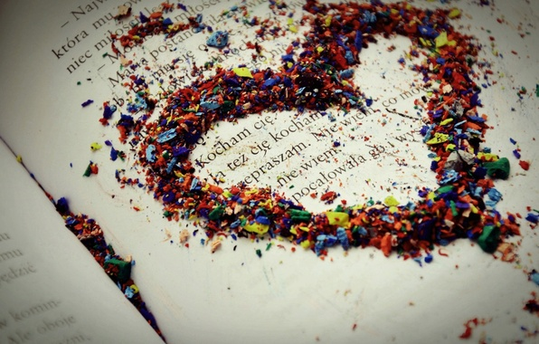 Picture macro, love, text, sheet, paper, the inscription, heart, pencils, book, love, colorful, line, feeling, chips