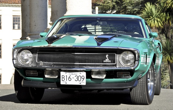 Picture Shelby, GT500, mustang, Mustang, ford, muscle car, Ford, classic, turquoise, Shelby, 1970, the front, Muscle …