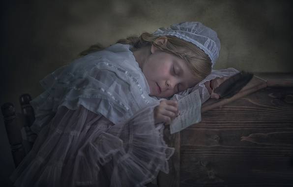 Picture letter, sleep, the situation, girl, vintage, sleeping girl