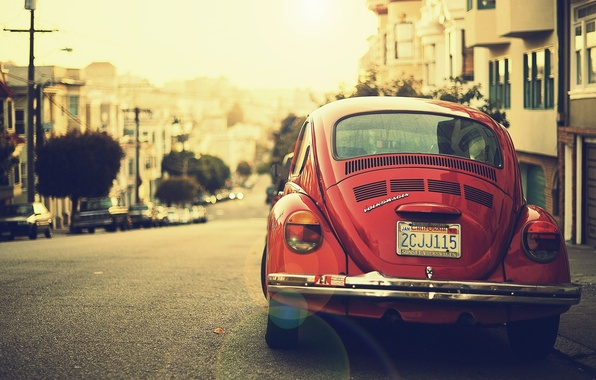 Picture auto, the city, transport, street, volkswagen, vintage, rarity, beetle
