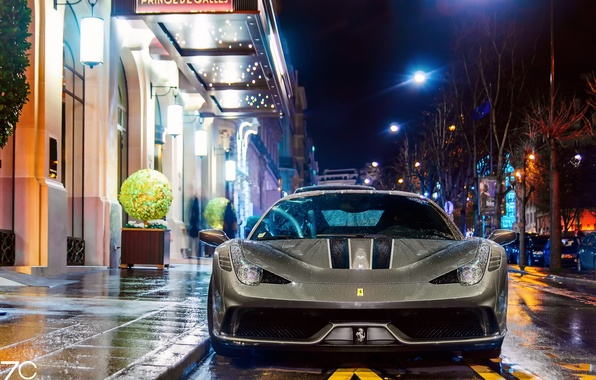 Picture wet, machine, drops, light, night, the city, lights, street, France, Paris, wet, Ferrari, Paris, 458, …