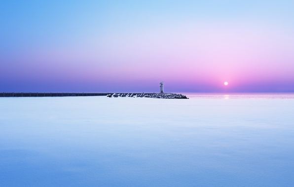 Picture winter, sea, snow, dawn, lighthouse, morning, pierce