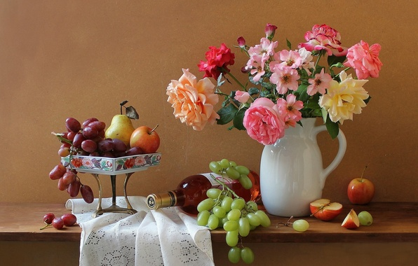 Picture flowers, wine, apples, bottle, roses, bouquet, grapes, pitcher, still life