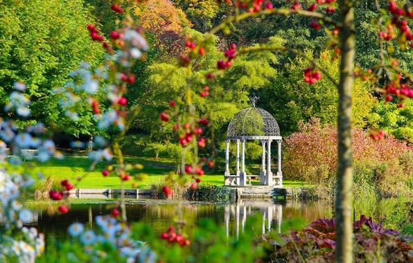 Picture lake, Park, England, gazebo, England, Dorset, Dorset, gardens Springhead, Fontmell Magna, Springhead Gardens, Fontmell Magna