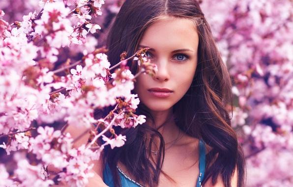 Picture girl, flowers, nature, spring, makeup, Sakura