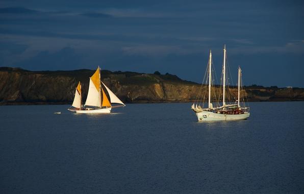 Picture sea, shore, ships, sailboats, .