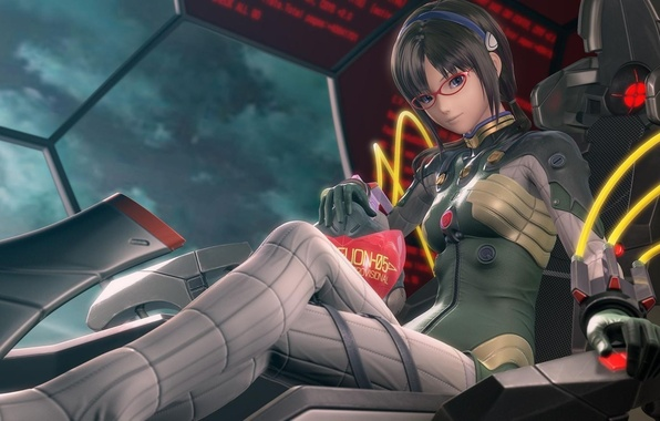 Picture girl, ship, chair, glasses, sitting, Neon Genesis Evangelion