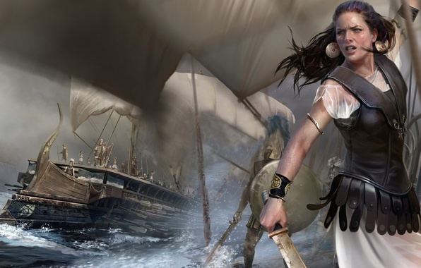 Picture girl, ships, sword, armor, sails, bad weather, warriors, Rome: Total War