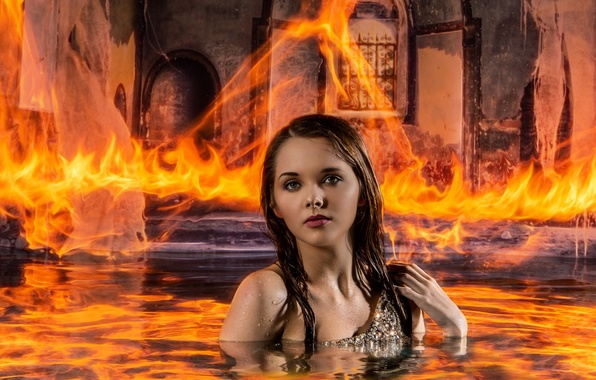 Picture water, girl, fire, the situation