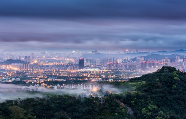 Picture the sky, trees, clouds, the city, lights, fog, dawn, hills, wire, view, height, morning, lighting, …